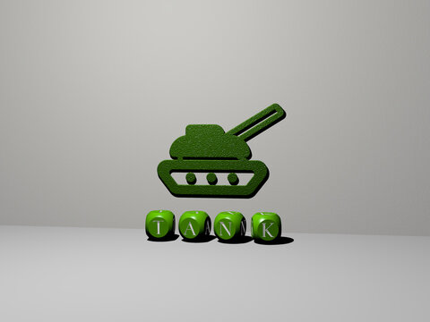 3D illustration of tank graphics and text made by metallic dice letters for the related meanings of the concept and presentations. background and fuel