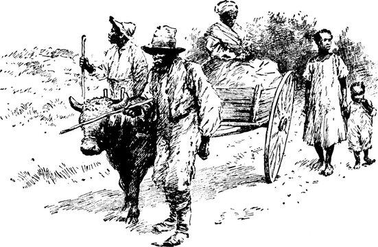 Farmers, vintage illustration.