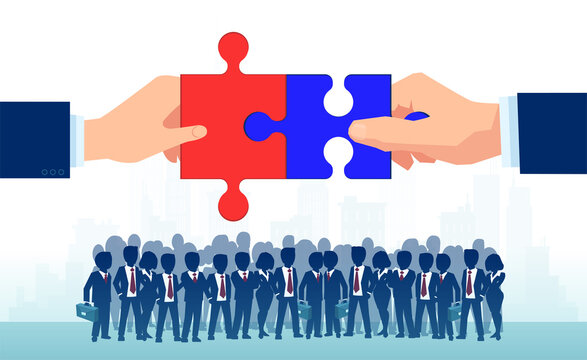 Vector of two politicians bringing together puzzle parts