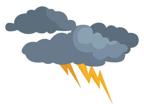 Clouds with thunderstorm, illustration, vector on white background
