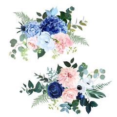 Classic navy blue, blush pink rose, hydrangea, ranunculus, dahlia, white anemone