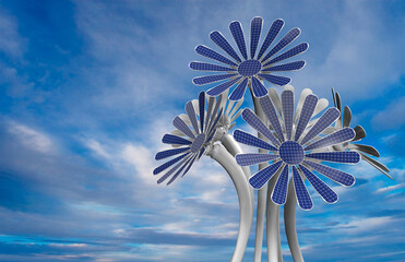 Group of 5 solar panels in the shape of a flower with petals and long stem of white color with blue sky background. 3D Illustration