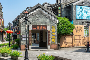 Guangzhou, China-September 17, 2019: The traditional Cantonese architecture of Lingnan Impression Park is a popular tourist destination in Guangzhou.