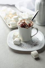 Hot chocolate with marshmallows sprinkled with chocolate crumbs.