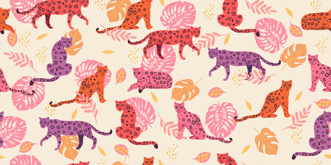 Seamless pattern with tropical leaves and leopards. Vector graphics