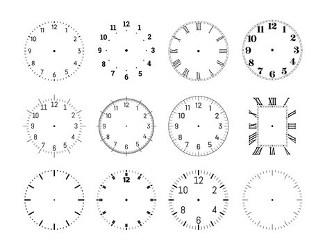 Mechanical clock face dials template set. Classic clocks and watches with arabic and roman numerals for your own design vector illustration isolated on white background