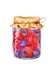 Jam with berries - strawberry, raspberry, blueberry in glass jar. Water color
