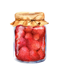Strawberry jam with berries in glass jar. Watercolour
