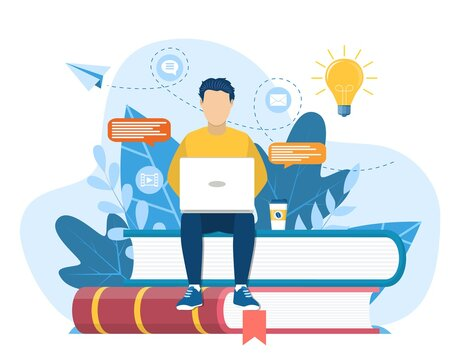 man sitting on pile of books. Concept illustration of online courses, distance studying, self education, digital library. E-learning banner. Online education. Vector illustration in flat style