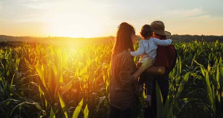 Photo sur Plexiglas Jaune de seuffre Happy family in corn field. Family standing in corn field an looking at sun rise