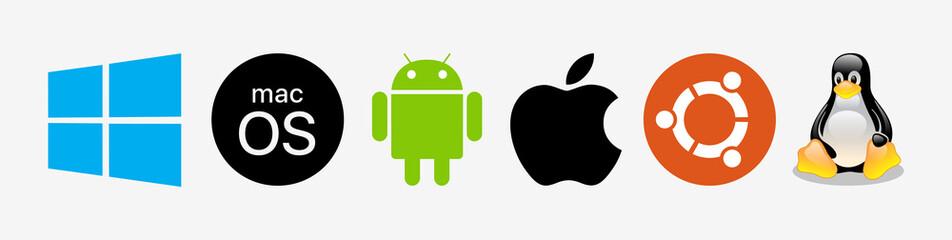 Windows, Mac OS, Android, Ubuntu, Linux computer OS logo set. Isolated operating system icons on white background. Brand editorial illustration.