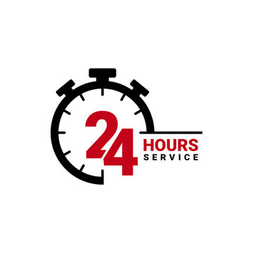 Twenty four hour service vector icon for your business. Logo element illustration, emblem, label, badge, sticker. Simple 24 hour service concept. Can be used in web and mobile.