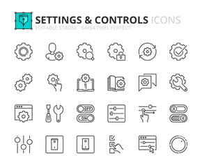 Simple set of outline icons about settings and controls