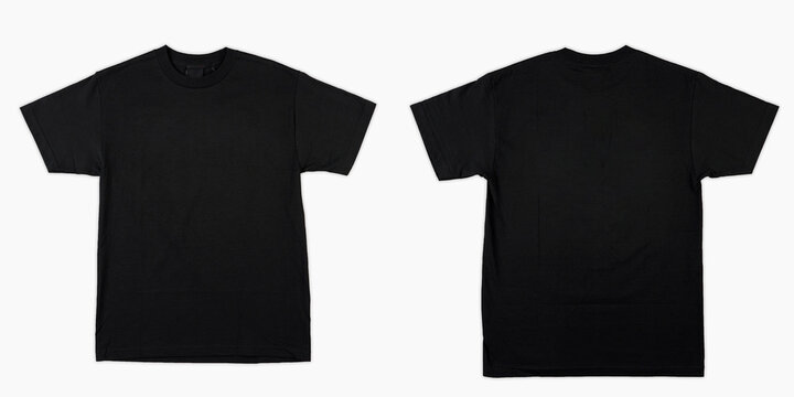 Blank T Shirt color black template front and back view on white background. blank t shirt template.  black tshirt set isolated,mock up.