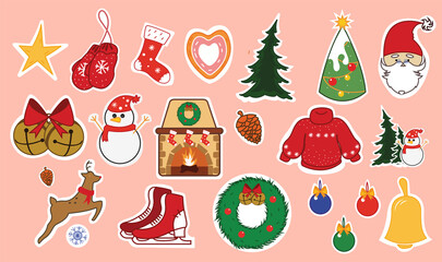 Set of Christmas stickers. Symbols of the holiday. Winter season stickers isolated on pink background. Vector illustration for your design