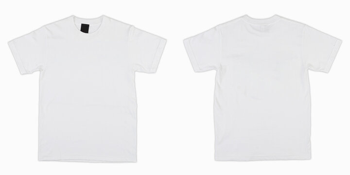 Blank T Shirt color white template front and back view on white background. blank t shirt template.  white tshirt set isolated,mock up.
