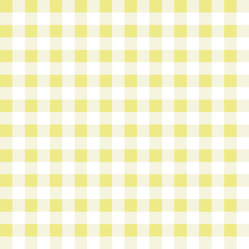 Yellow gingham check seamless pattern. Abstract geometric background for fabric, textile, wrapping paper, scrapbooking. Surface pattern design.
