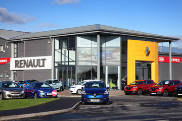 Kidwelly, Wales, UK, November 20, 2016 :  Renault car showroom showing its company logo and cars available for sale