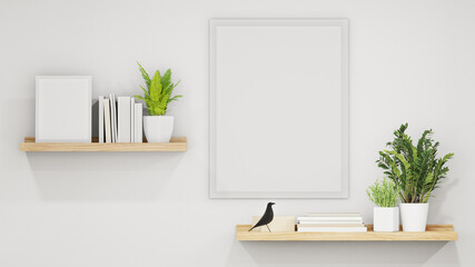 Plant in flower pot near empty picture frame. 3d rendering of white home interior with wooden shelves on wall.