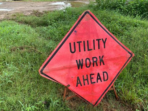 Utility Work Ahead Road Sign