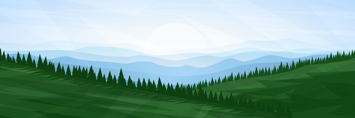 Vector illustration. Meadow flat landscape. Clear polygonal sky. Triangle shapes. Hills. Graphic modern backdrop. Abstract art. Minimalist style. Design element for poster. Natural concept. Wallpaper Fototapete