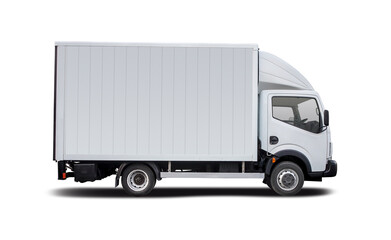 White truck side view isolated on white background