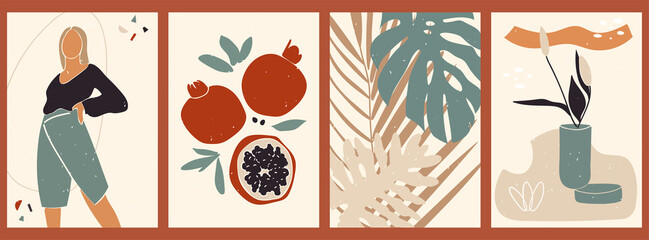 Abstract still life poster collection. Set of contemporary art print templates. Nature backgrounds for your social media. Female shape and silhouette, vases, plants, leaves, garnet, flowers.