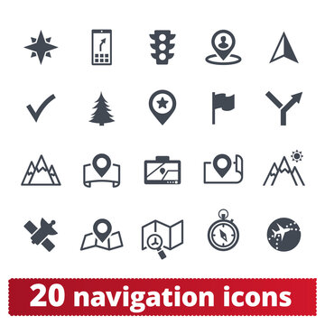 Navigation, map, transportation vector icons set. Traveling, location, direction, cartography, place, transport and landmark pictograms for web and mobile services. Isolated on white background.