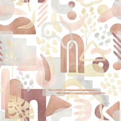 Watercolor seamless pattern with abstract shapes in warm pastel colors, pink, ocher, terracotta, gold. Aesthetic modern background with freehand geometric forms. Stile design for textile, wallpaper. - 368242179