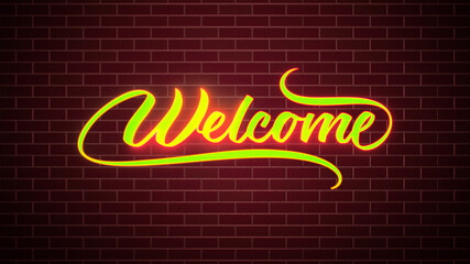Yellow Red Welcome Neon Light Lettering Sign On Dark Red Brick Wall Texture Background