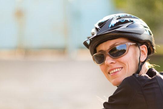 Spring summer bike riding beautiful woman
