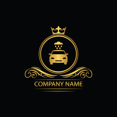 wash car logo template luxury royal vector company  decorative emblem with crown
