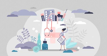 Photo sur Plexiglas Echelle de hauteur Pharmacy business with medical drug pills for disease tiny persons concept