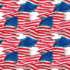 seamless watercolor pattern of American flag for background.