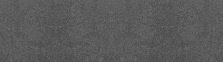 old grunge anthracite gray grey vintage cement texture with floral seamless pattern print tiles wallpaper texture background banner panorama