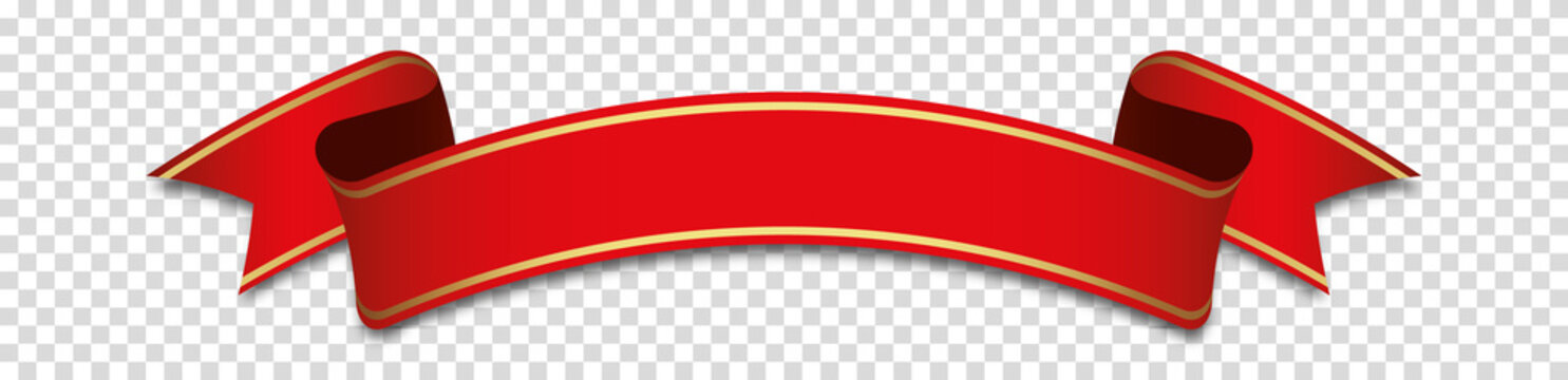 red ribbon banner label on transparent background