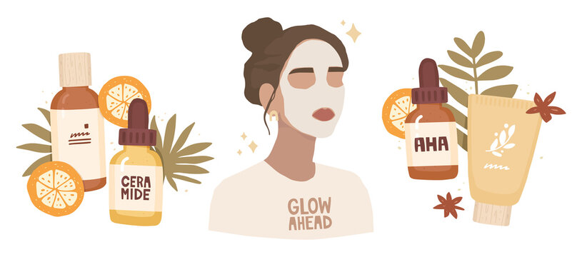 Set of vector illustrations. Portrait of a girl with a face mask. White t-shirt, lettering glow ahead. Cosmetic packaging, products with ceramide, and aha acid. Skin treatment, home care, routine.