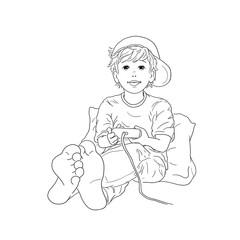 Junge sitzt barfuß an Kissen gelehnt mit Mütze Basecap auf dem Kopf und spielt Computer Spielekonsole schwarzweiß Freizeit Hobby Teenager Schüler Kindheit lächeln Freude Begeisterung Zehen Ausmalbild