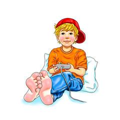 Junge sitzt barfuß an Kissen gelehnt mit Mütze Basecap auf dem Kopf und spielt Computer Spielekonsole spielen Freizeit Hobby Teenager Schüler Kindheit lächeln Freude Begeisterung Zehen Freiheit