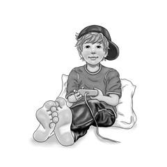 Junge sitzt barfuß an Kissen gelehnt mit Mütze Basecap auf dem Kopf und spielt Computer Spielekonsole schwarzweiß Freizeit Hobby Teenager Schüler Kindheit lächeln Freude Begeisterung Zehen Freiheit