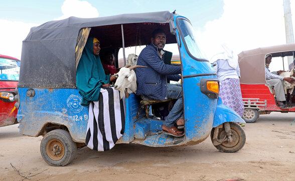 Somali residents ride in a rickshaw with a goat from a livestock market ahead of the Eid al-Adha festival, amid the coronavirus disease (COVID-19) pandemic, in Mogadishu