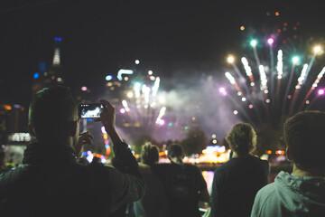 Spectators watching Melbourne fireworks