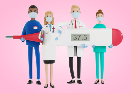 Doctors. A group of medical workers are holding a thermometer. Chief physician and medical specialists. 3D illustration in cartoon style.