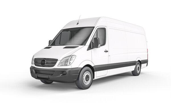 white cargo van on a white background.