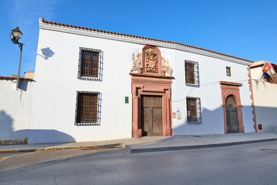 View of the facades of the Sanabria family manor house and the santo Domingo Soriano ermitage, current Alcazar de San Juan city municipal museum, Ciudad Real province, Castilla la Mancha, Spain