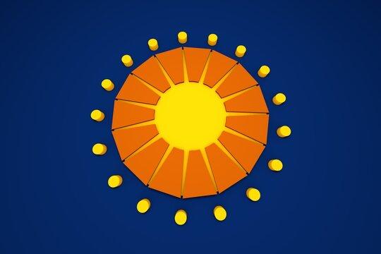 3D rendering abstract sun illustration