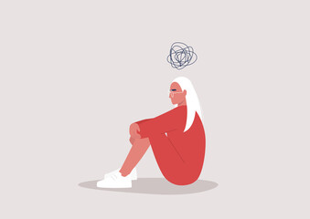 Young depressed female character sitting on the floor and holding their knees, a cartoon scribble above their head, mental health issues