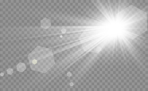 Special lens flash, light effect. The flash flashes rays and searchlight. illust.White glowing light. Beautiful star Light from the rays. The sun is backlit. Bright beautiful star. Sunlight. Glare.