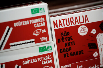 Naturalia own-brand chocolate cakes sit on display in a Naturalia organic foods grocery store operated by Casino Group, in Bretigny-sur-Orge