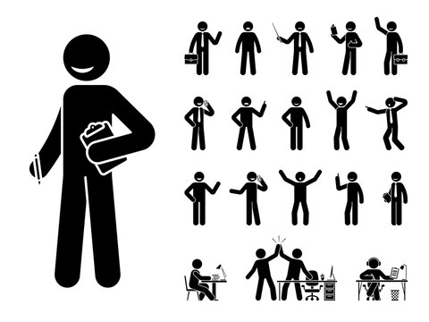 Stick figure business man standing in different poses design vector icon set. Happy, sad, surprised, amazed, angry face. Sitting, celebrating, writing stickman male person on white
